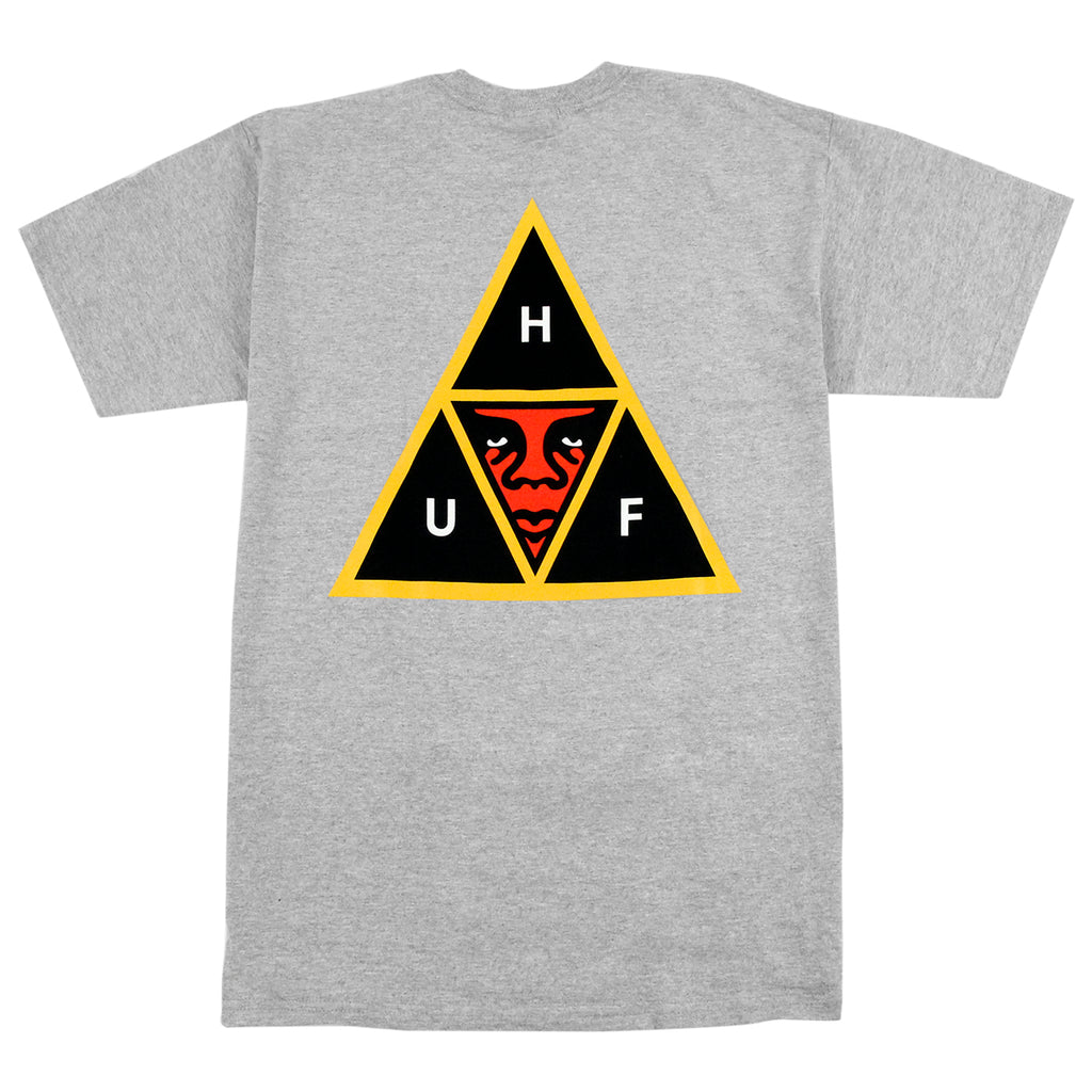 HUF x Obey Icon Face T Shirt in Heather Grey - Back
