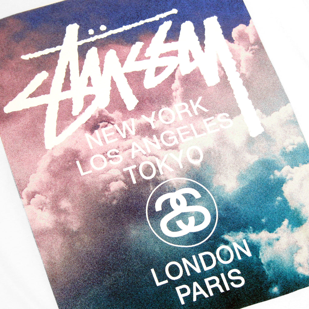 Stussy WT Clouds T Shirt in White - Print