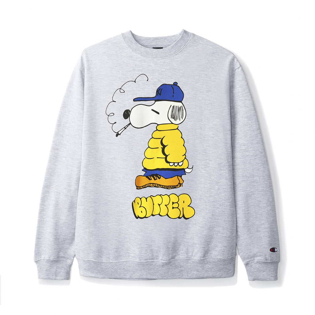 Butter Goods Lo Goose Champion Crewneck in Silver Grey