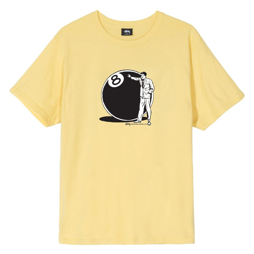 Stussy 8 Ball Man T Shirt in Yellow