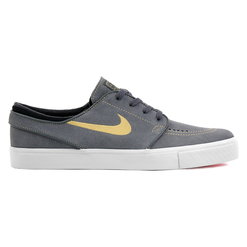 Nike SB Stefan Janoski Shoes in Anthracite / Metallic Gold / Black / Bright Crimson