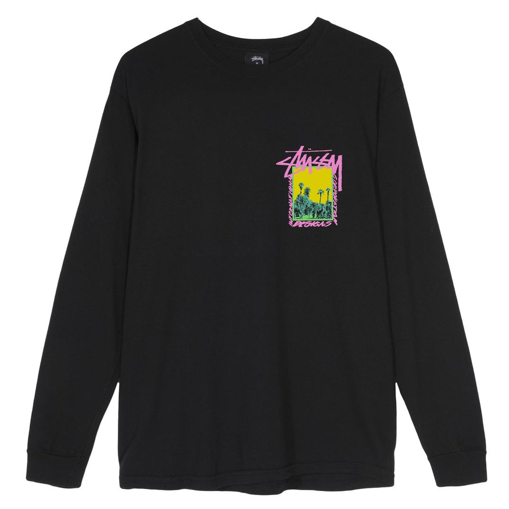 Stussy L/S Pigment Dyed Palm Desert T Shirt in Black - Front