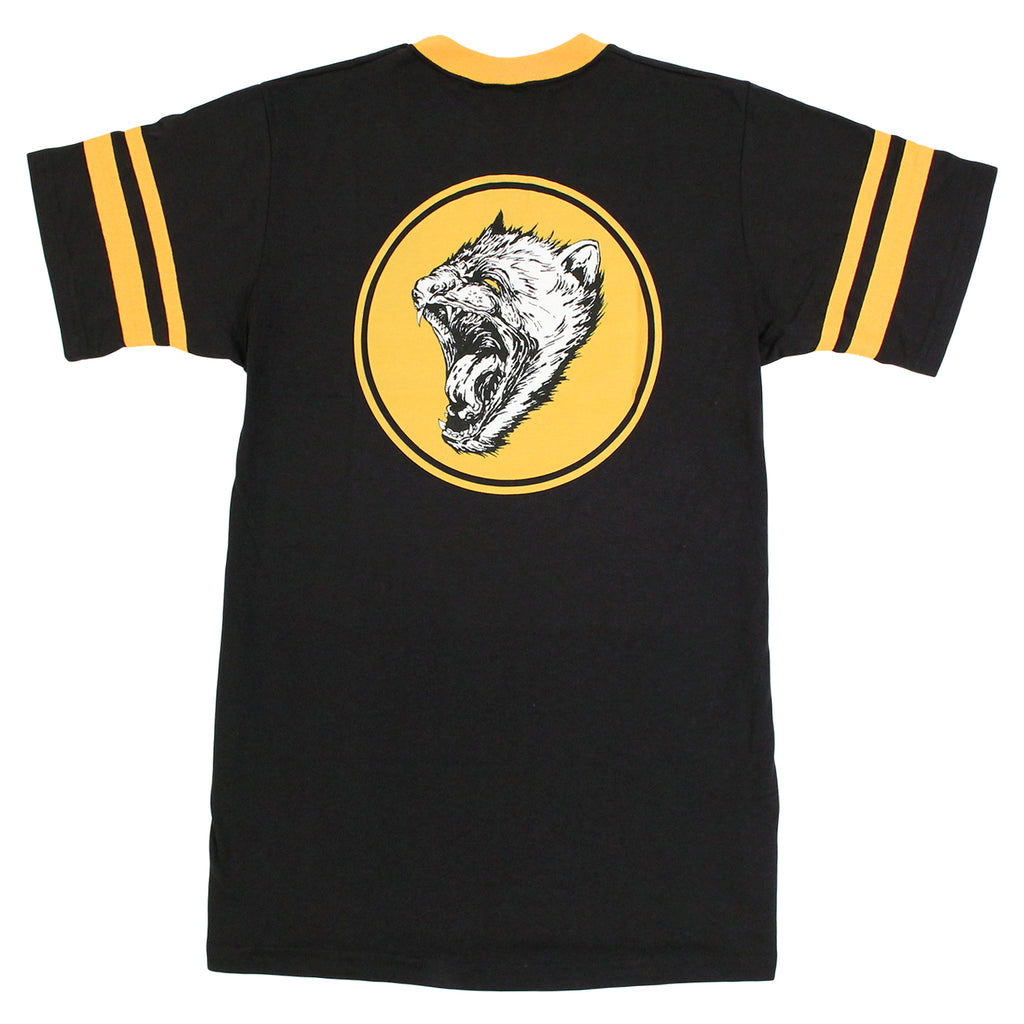Angels Baseball Ringer T Shirt in Black/Yellow by Welcome Skateboards - Back