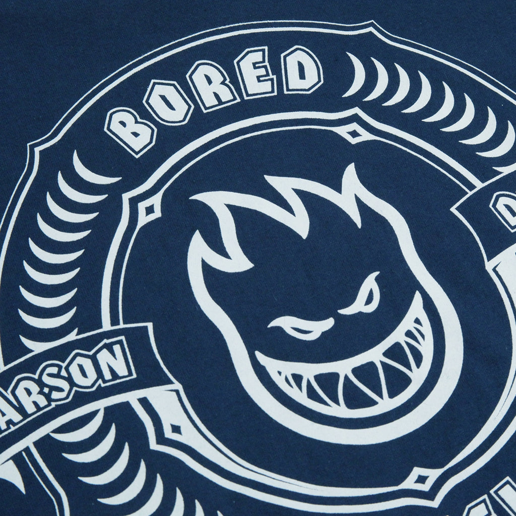 Bored of Southsea x Spitfire Wheels Arson Dept T Shirt in Harbour Blue - Bored Text