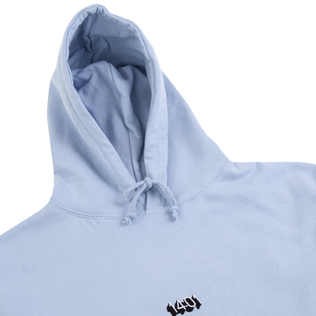 14:01 Skateboard Co Logo Hoodie in Sky Blue - Detail