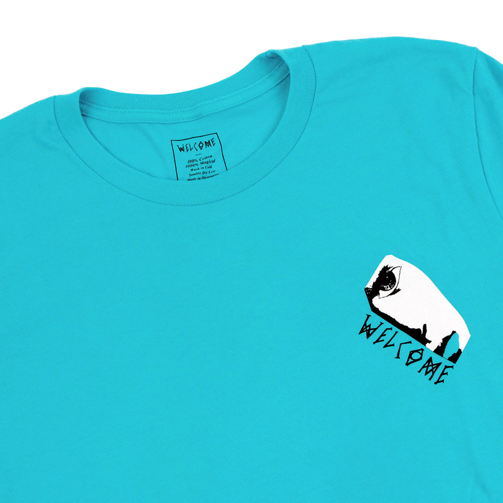 Welcome Skateboards Miller Faces T Shirt in Teal - Detail