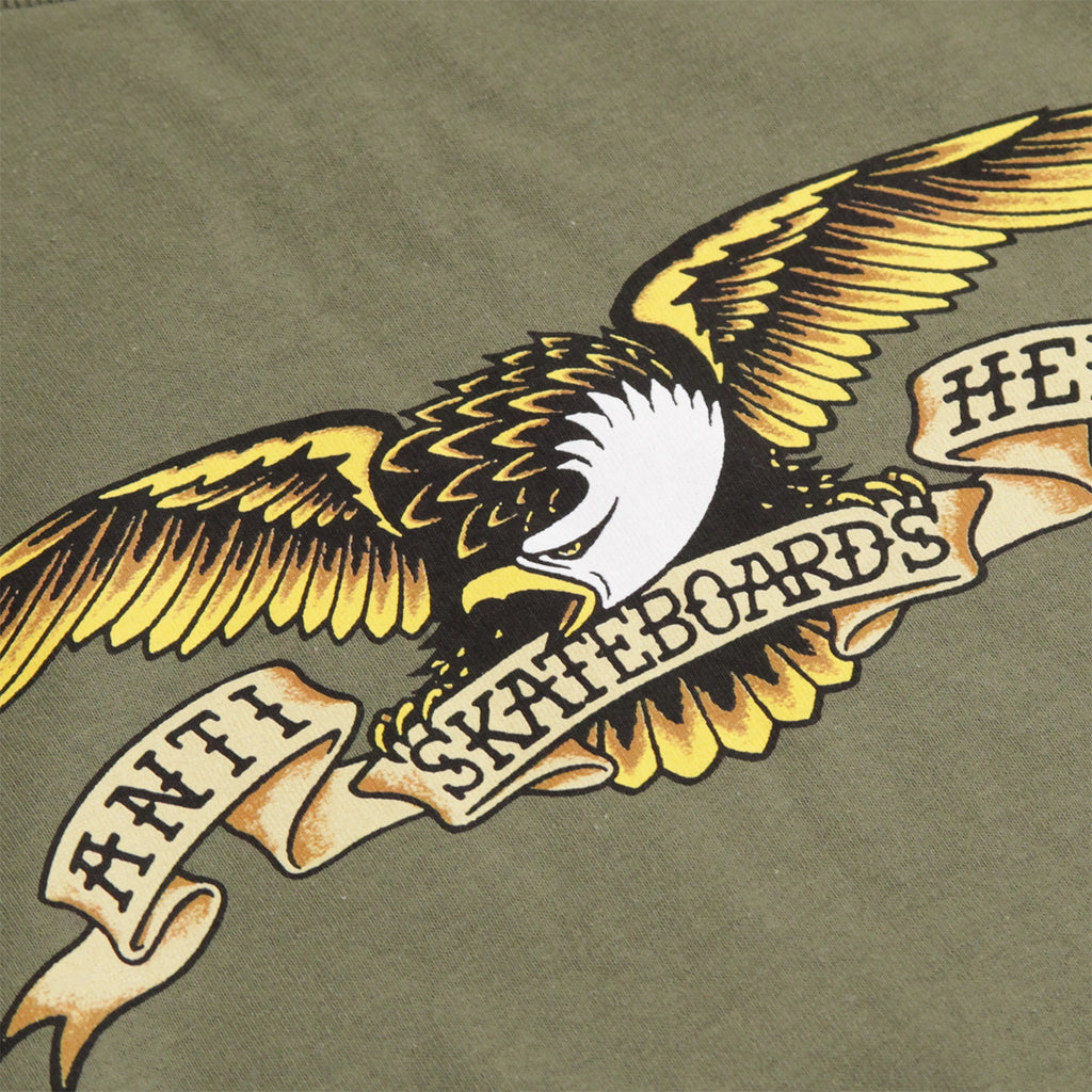 Anti Hero Skateboards Eagle L/S T Shirt in Military Green - Print
