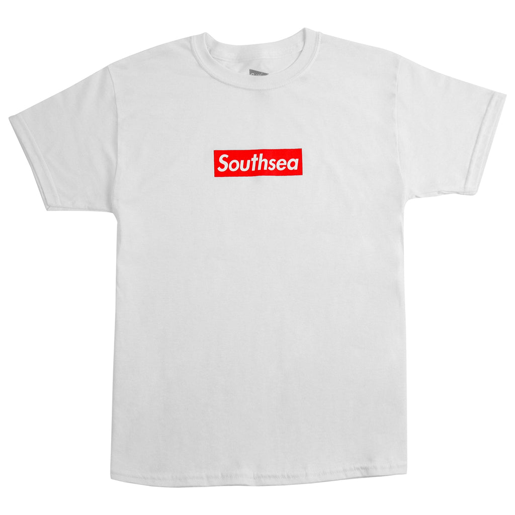 "Bored of Southsea ""Southsea"" Kids T Shirt in White / Red Box"