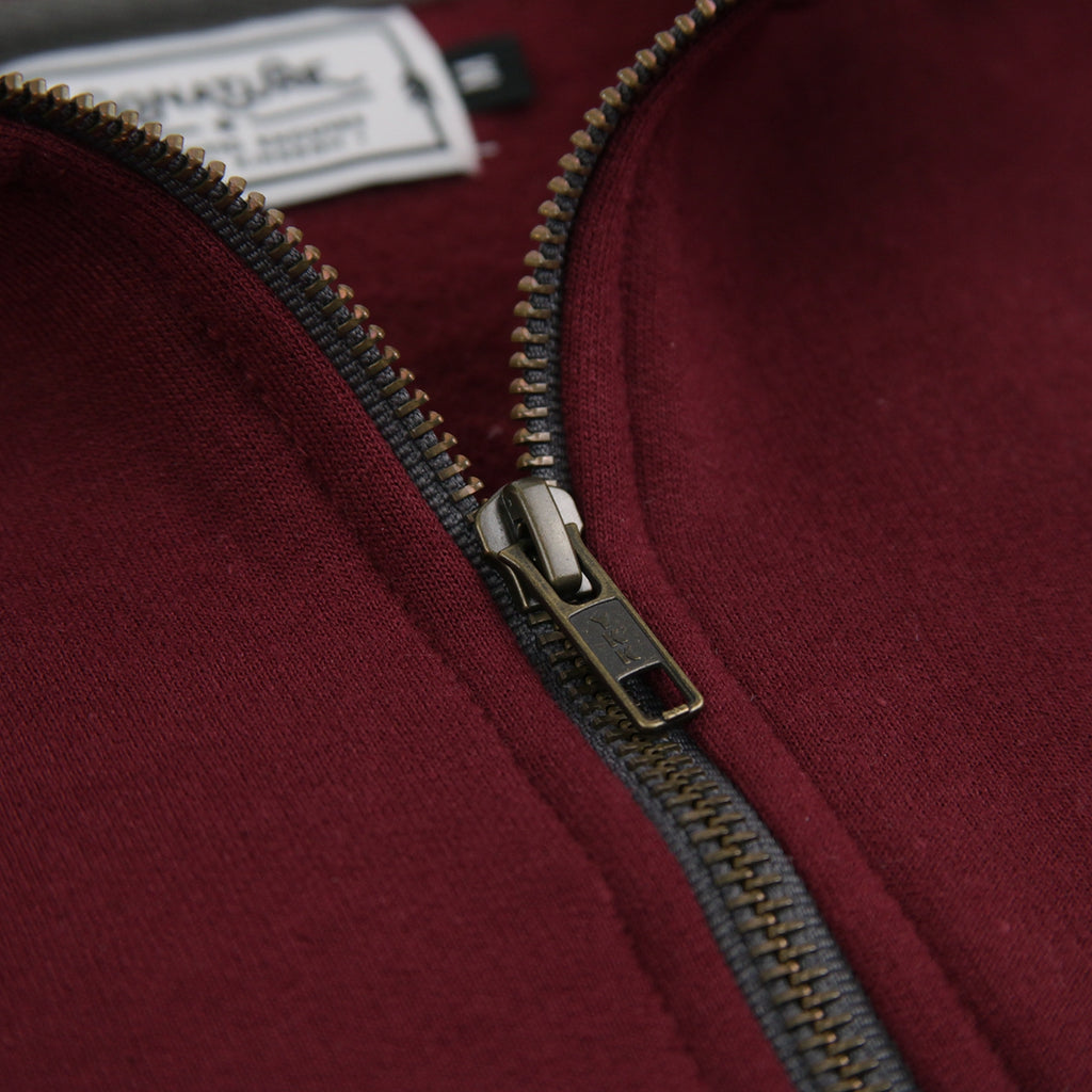 Signature Clothing Classic Logo Embroidered 1/4 Zip in Maroon - Label