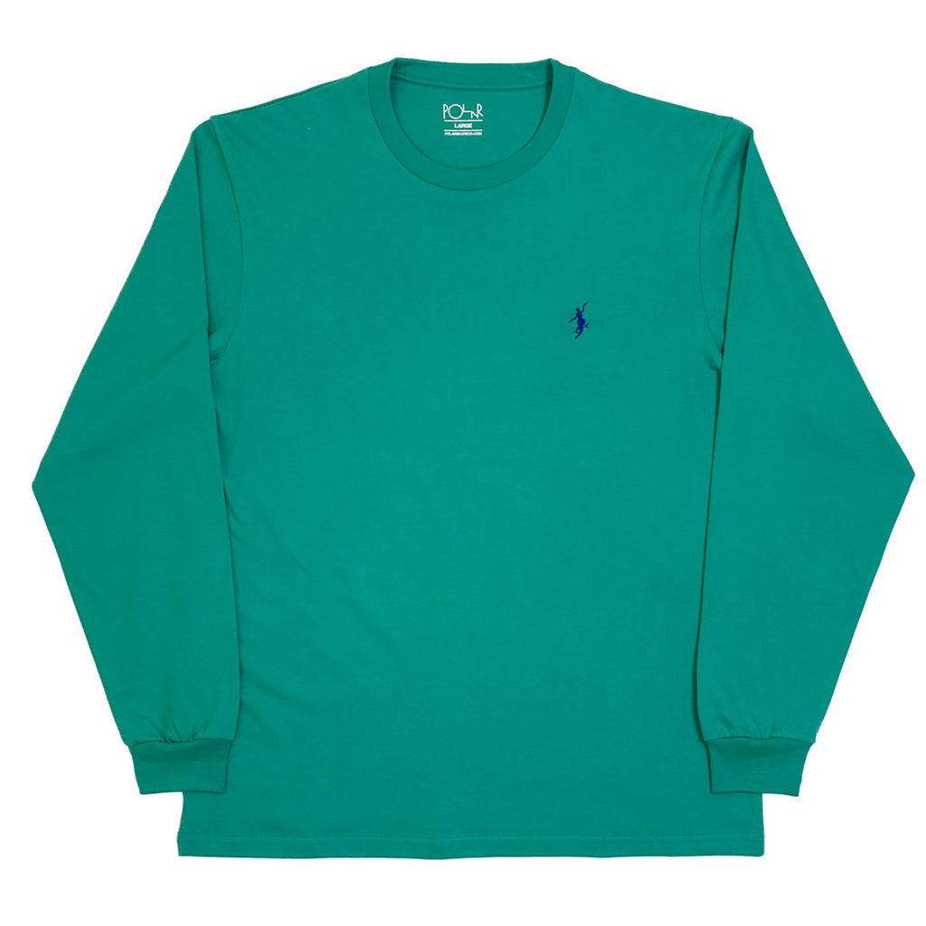 Polar Skate Co No Comply L/S T Shirt in Sports Green / Blue