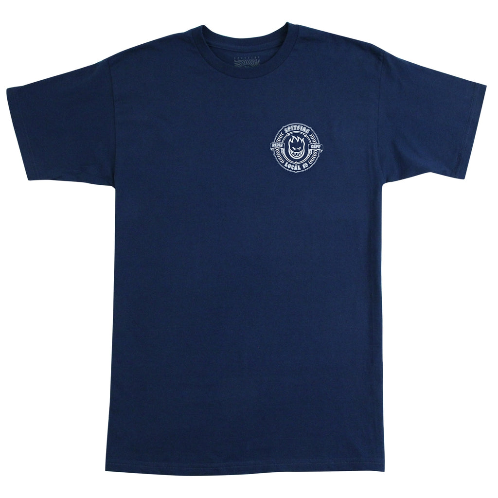 Bored of Southsea x Spitfire Wheels Arson Dept T Shirt in Harbour Blue - Front