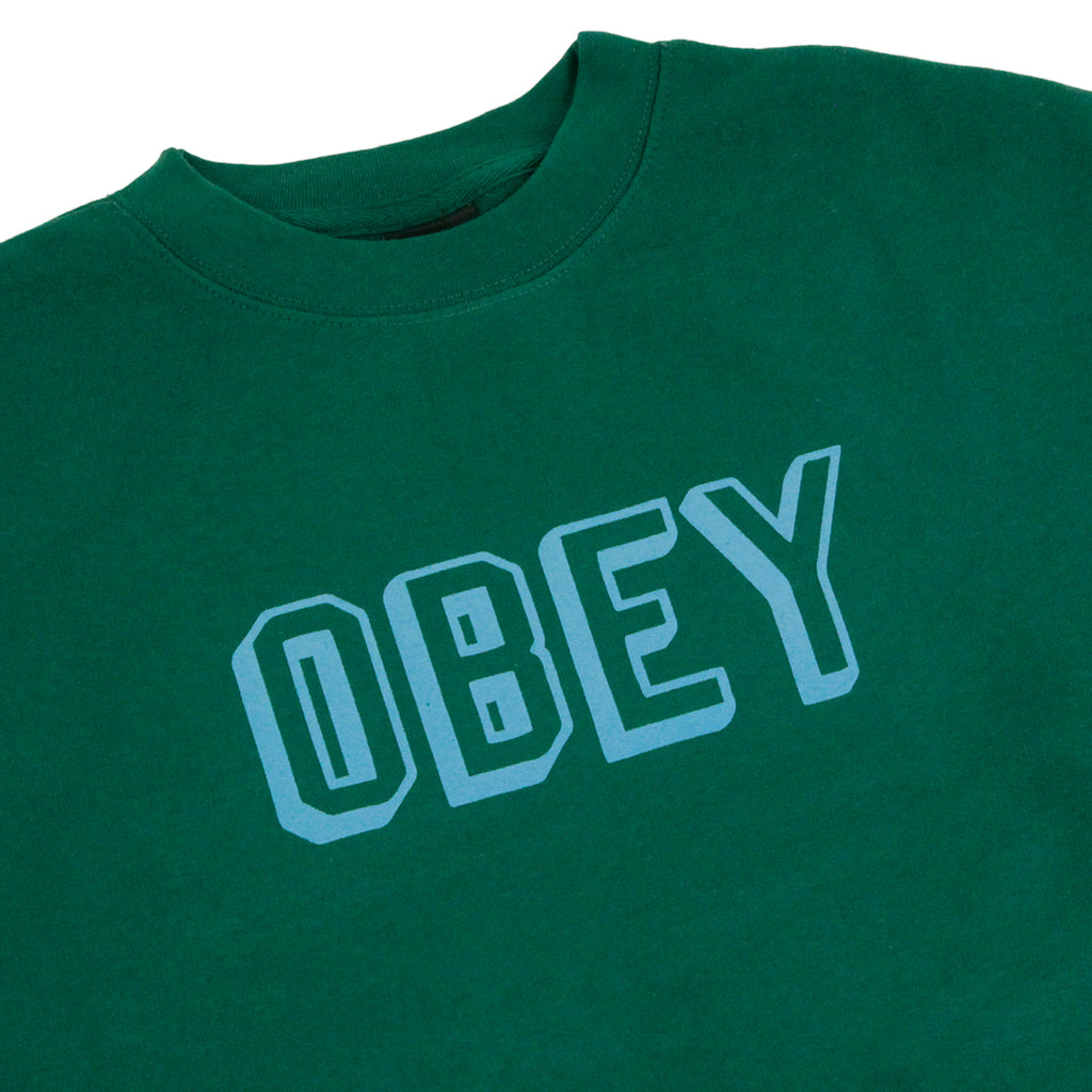 Obey Clothing Obey Varsity Sweatshirt in Dark Green - Detail