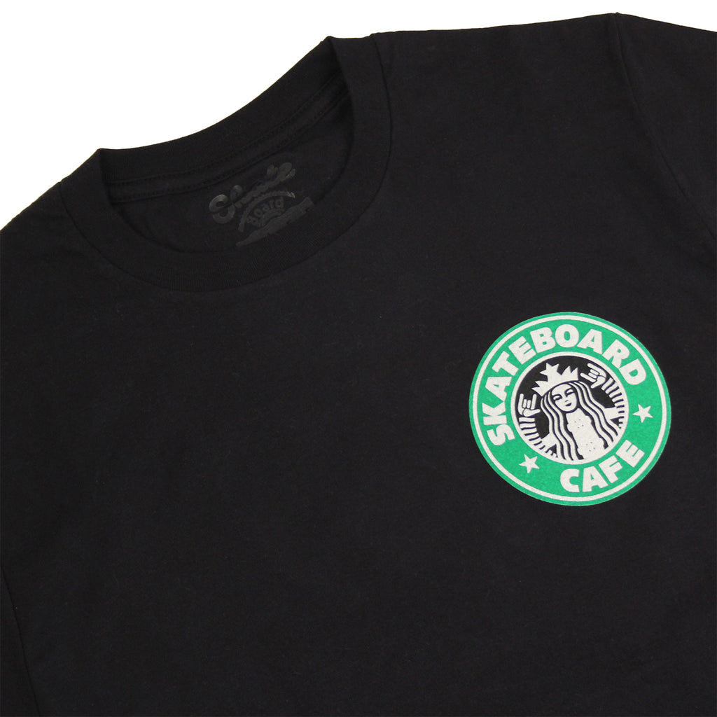 Skateboard Cafe Starfucks T Shirt in Black - Collar