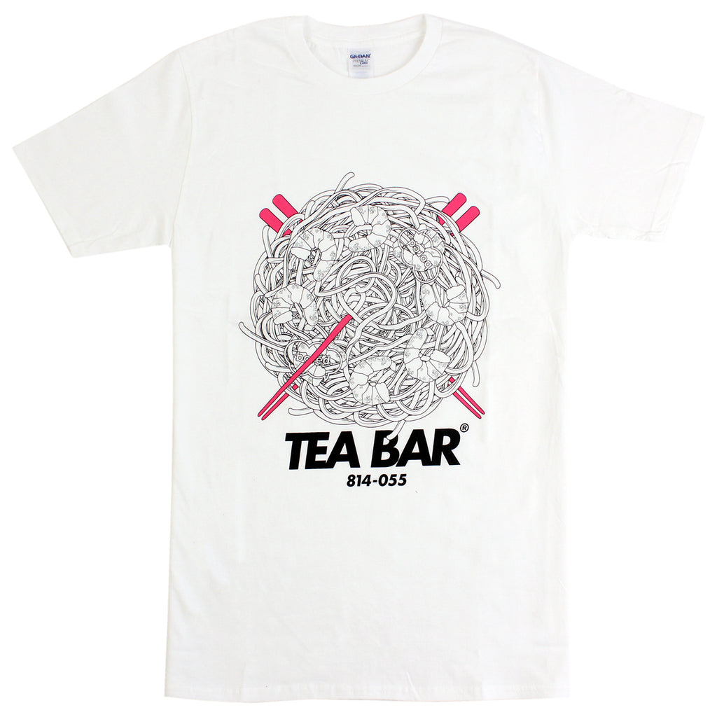 Bored of Southsea Tea Bar T Shirt in White / Hot Pink