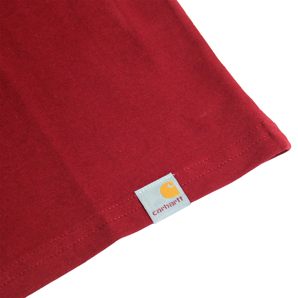 Carhartt Brush T Shirt in Cranberry / White - Hem label