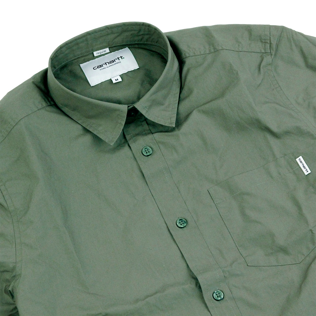 Carhartt S/S Wesley Shirt in Leaf - Detail