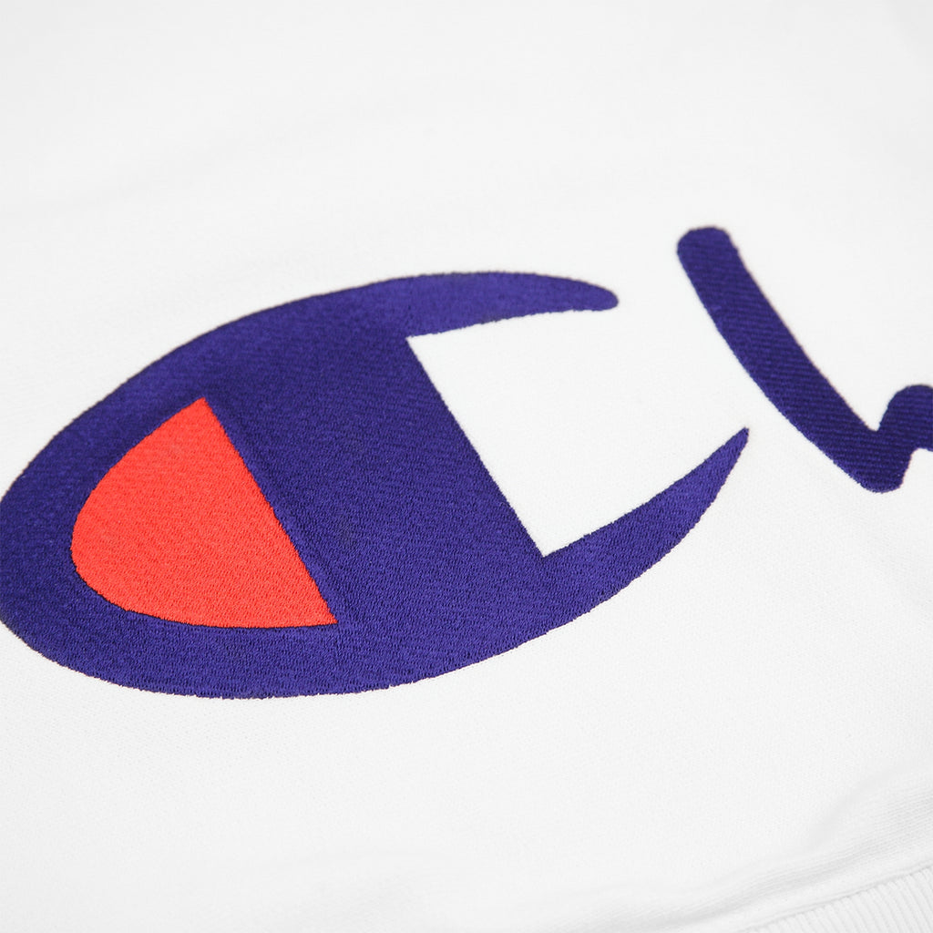 Champion Reverse Weave Training Crew Sweatshirt in White - Embroidery