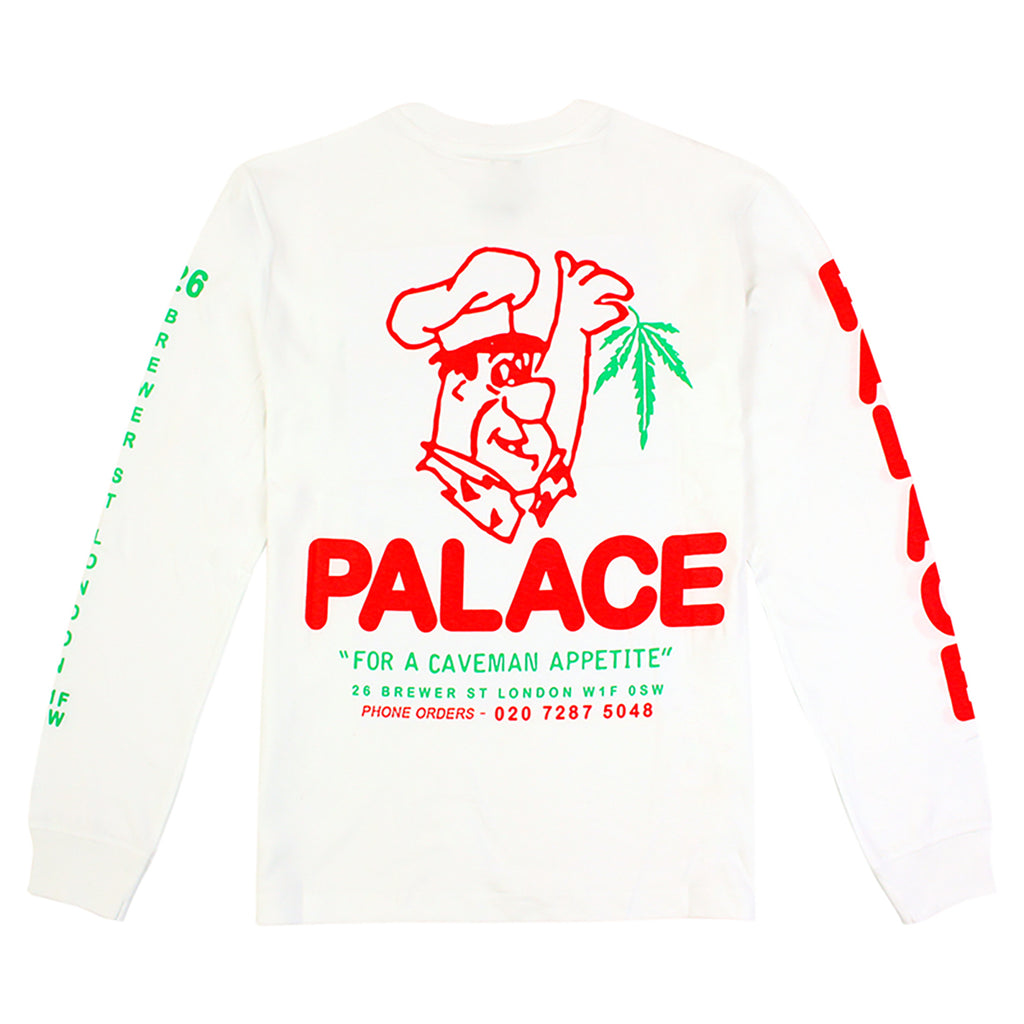 Palace Caveman L/S T Shirt in White - Back