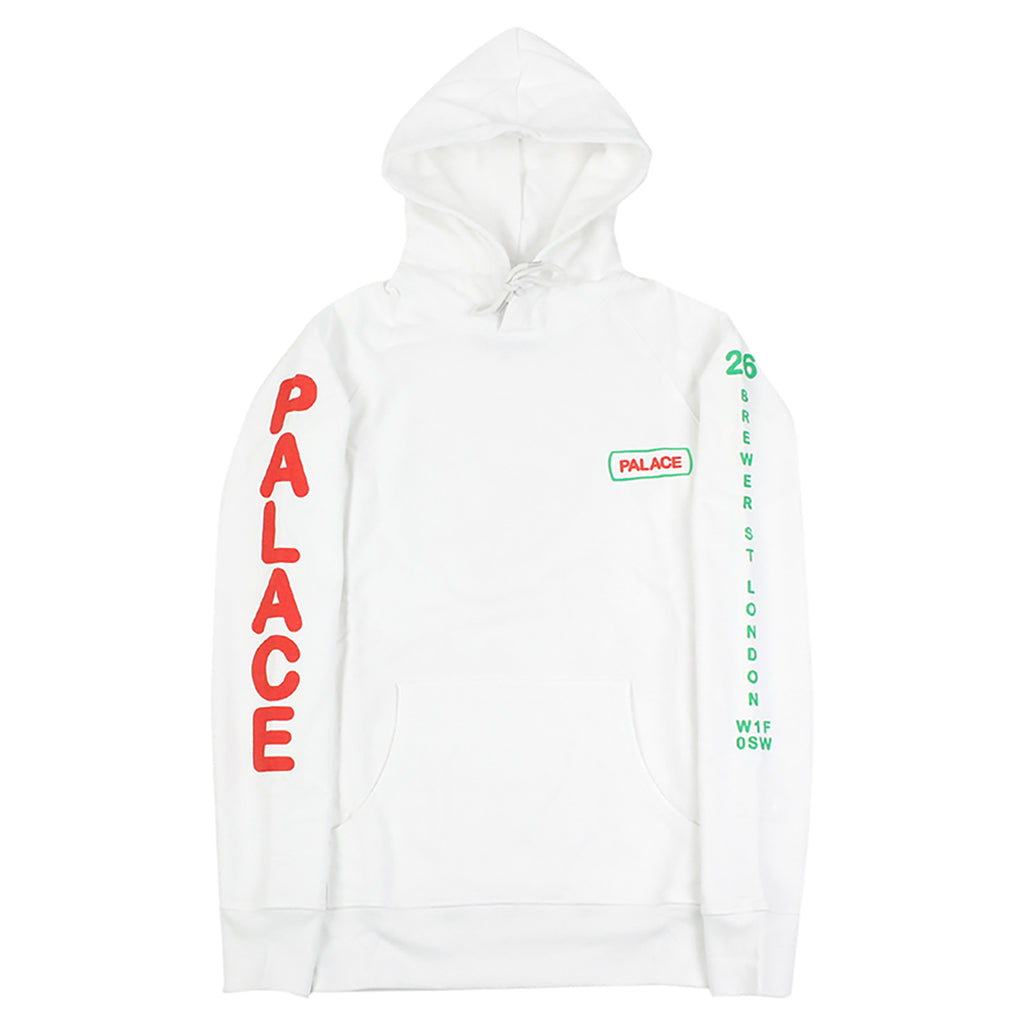 Palace Caveman Hoodie in White - Sleeves down