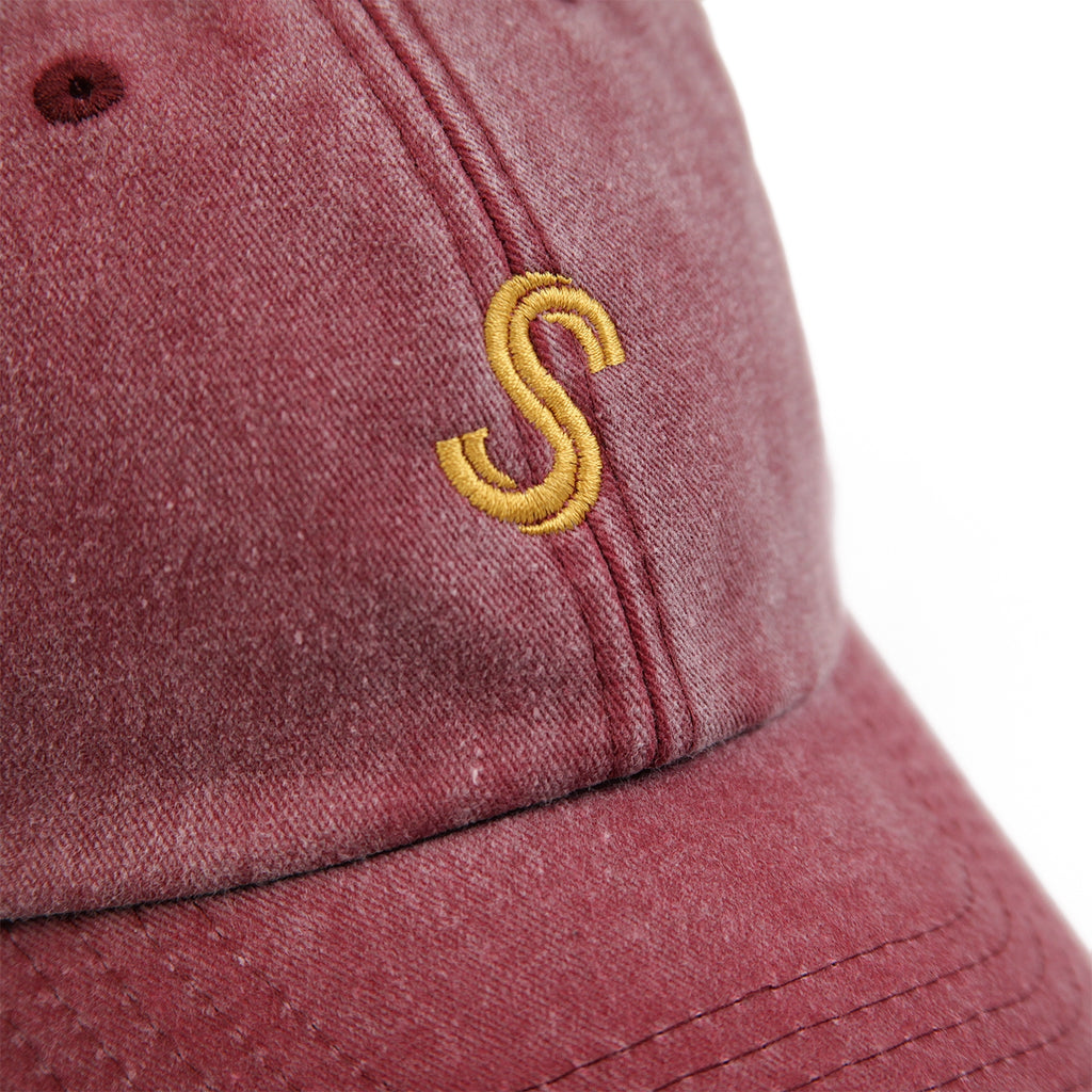 Signature Clothing S Logo Dad Cap in Washed Red / Gold - Detail