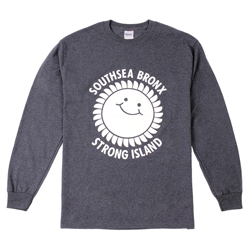 Southsea Bronx Strong Island Long Sleeve T Shirt in White on Navy Heather