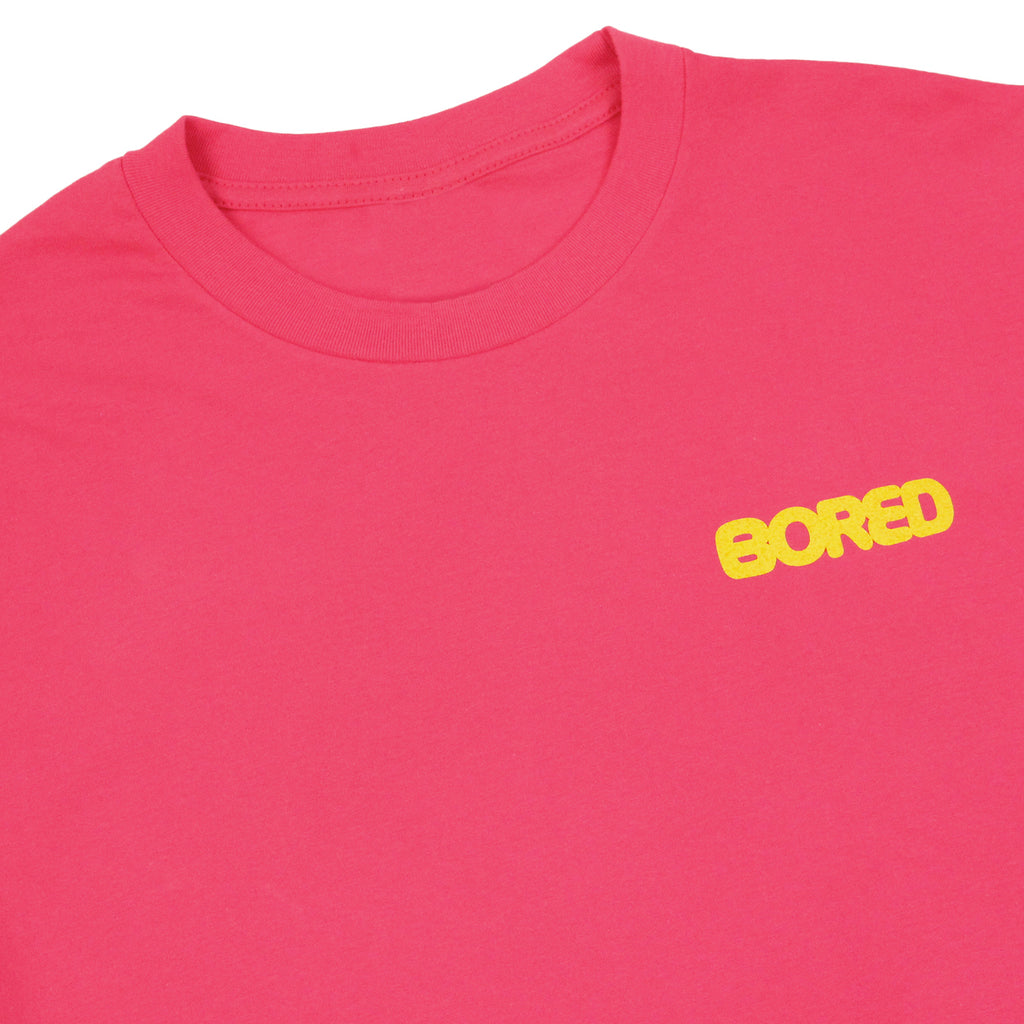 Bored of Southsea Bored Brigade T Shirt in Radical Pink - Detail