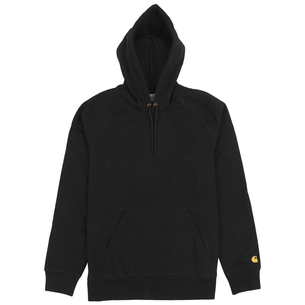 Carhartt WIP Hooded Chase Sweat Hoodie in Black / Gold