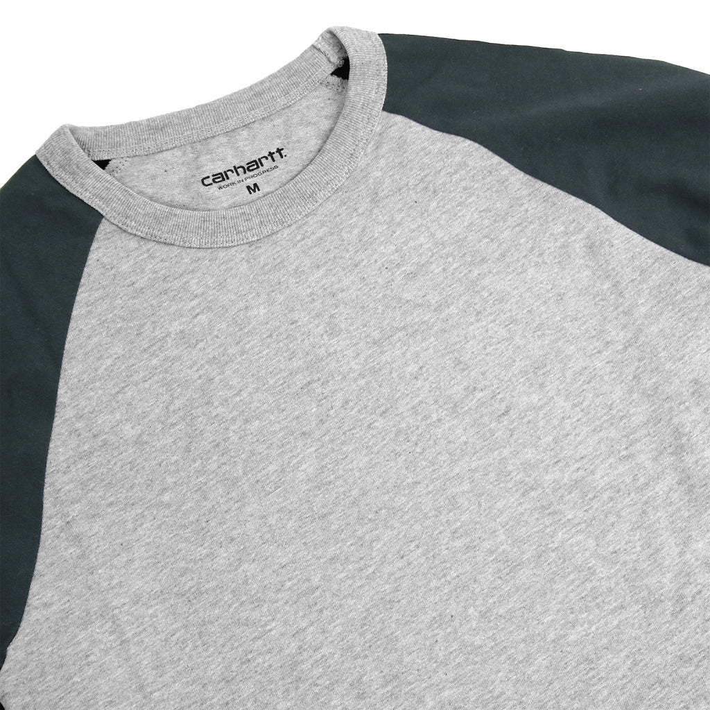Carhartt Dodgers L/S T Shirt in Heather Grey / Dark Petrol - Detail