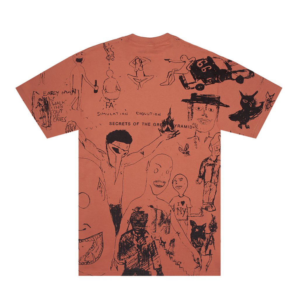 Fucking Awesome Drawing T Shirt in Terracotta - Back