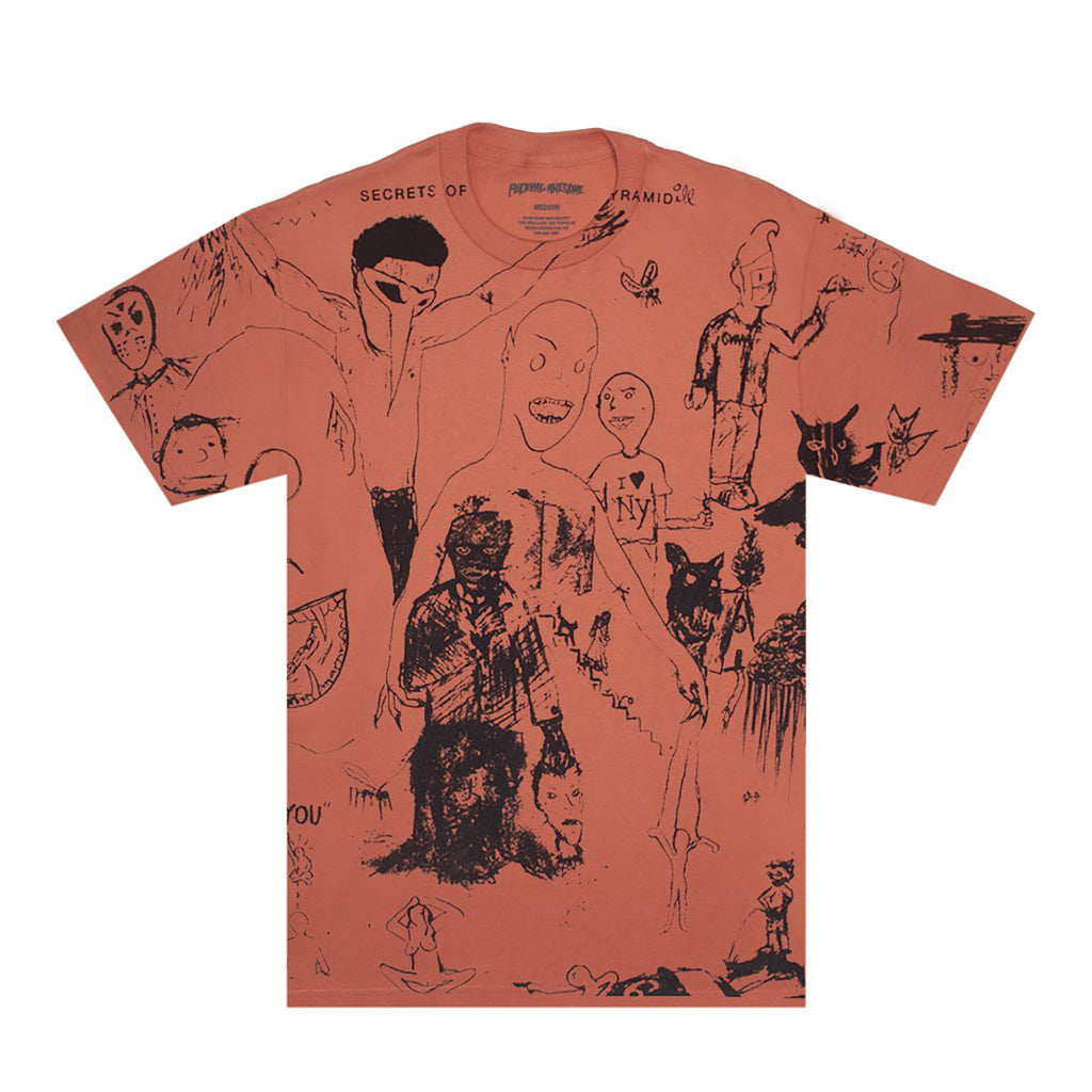 Fucking Awesome Drawing T Shirt in Terracotta