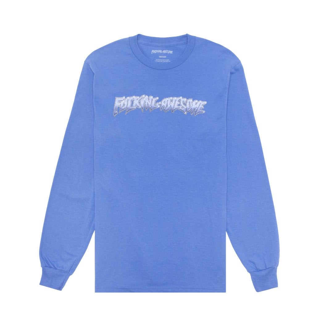 Fucking Awesome Chrome L/S T Shirt Flo Blue - Front