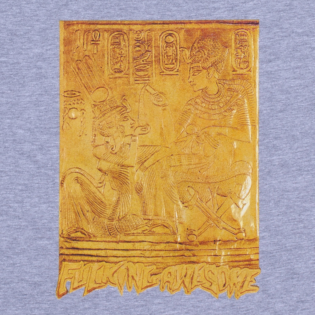 Fucking Awesome Gold Hieroglyphic T Shirt in Heather Grey - Detail