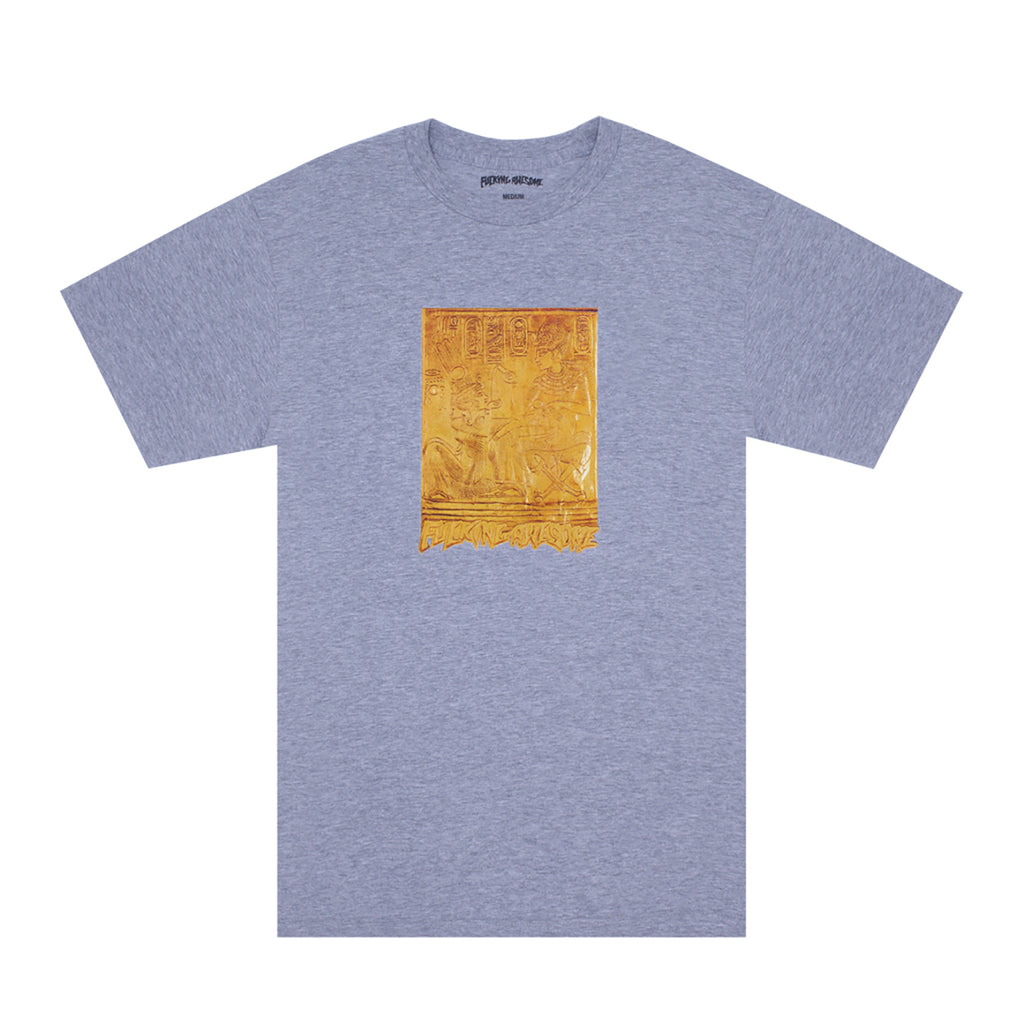 Fucking Awesome Gold Hieroglyphic T Shirt in Heather Grey