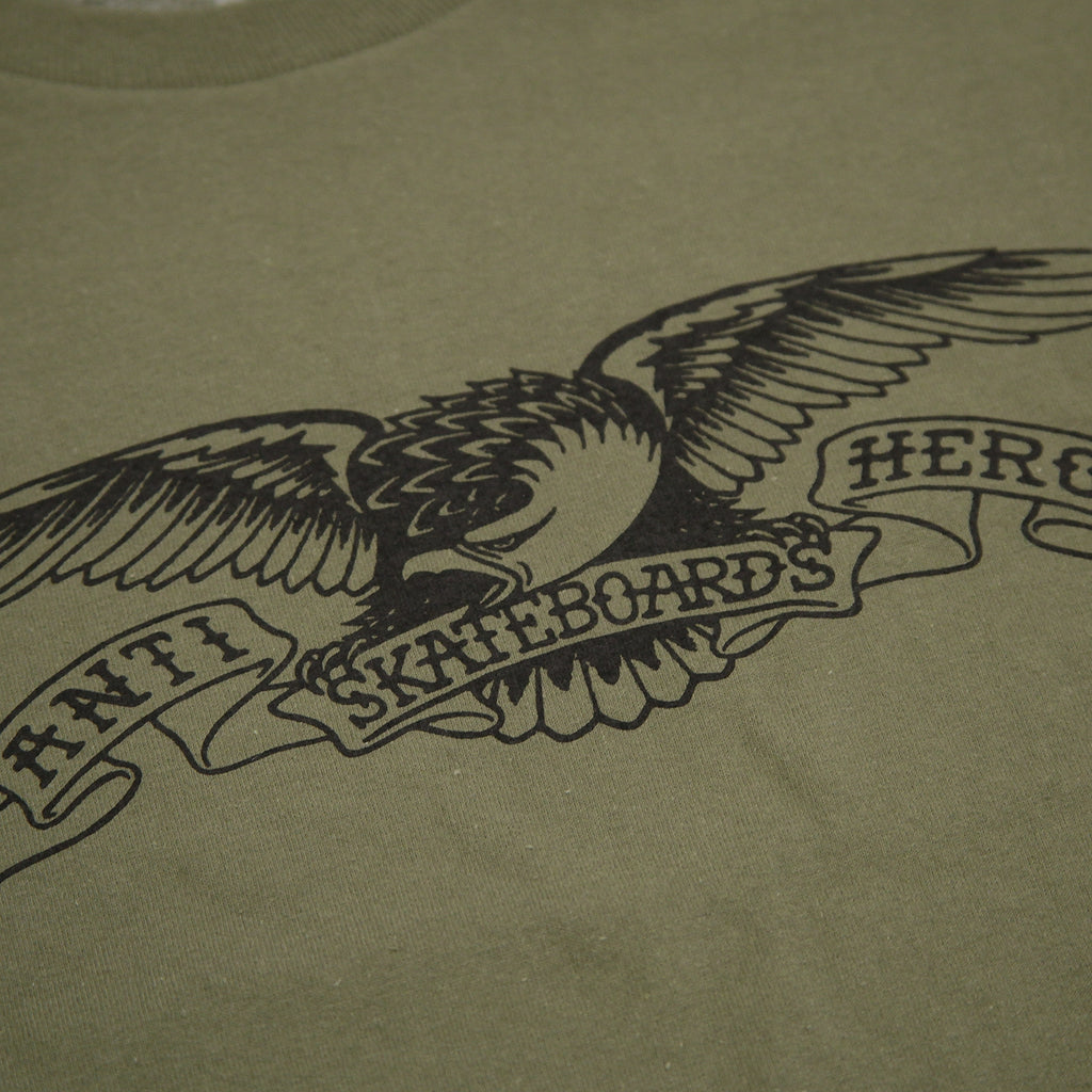 Anti Hero Skateboards Basic Eagle T Shirt in Military Green / Black - Print
