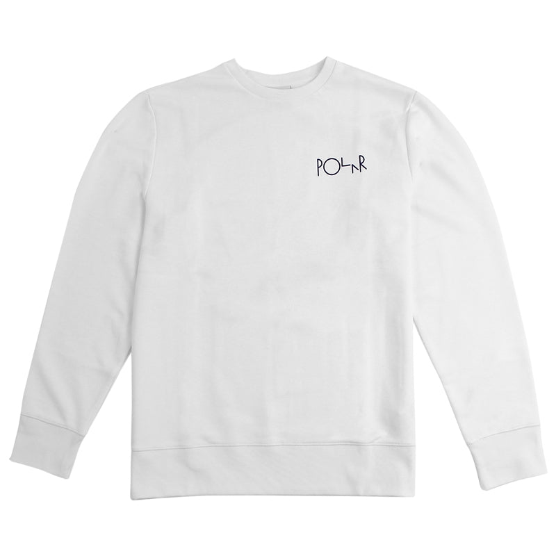 Polar Skate Co Fill Logo Behind The Curtain Sweatshirt in White / Navy