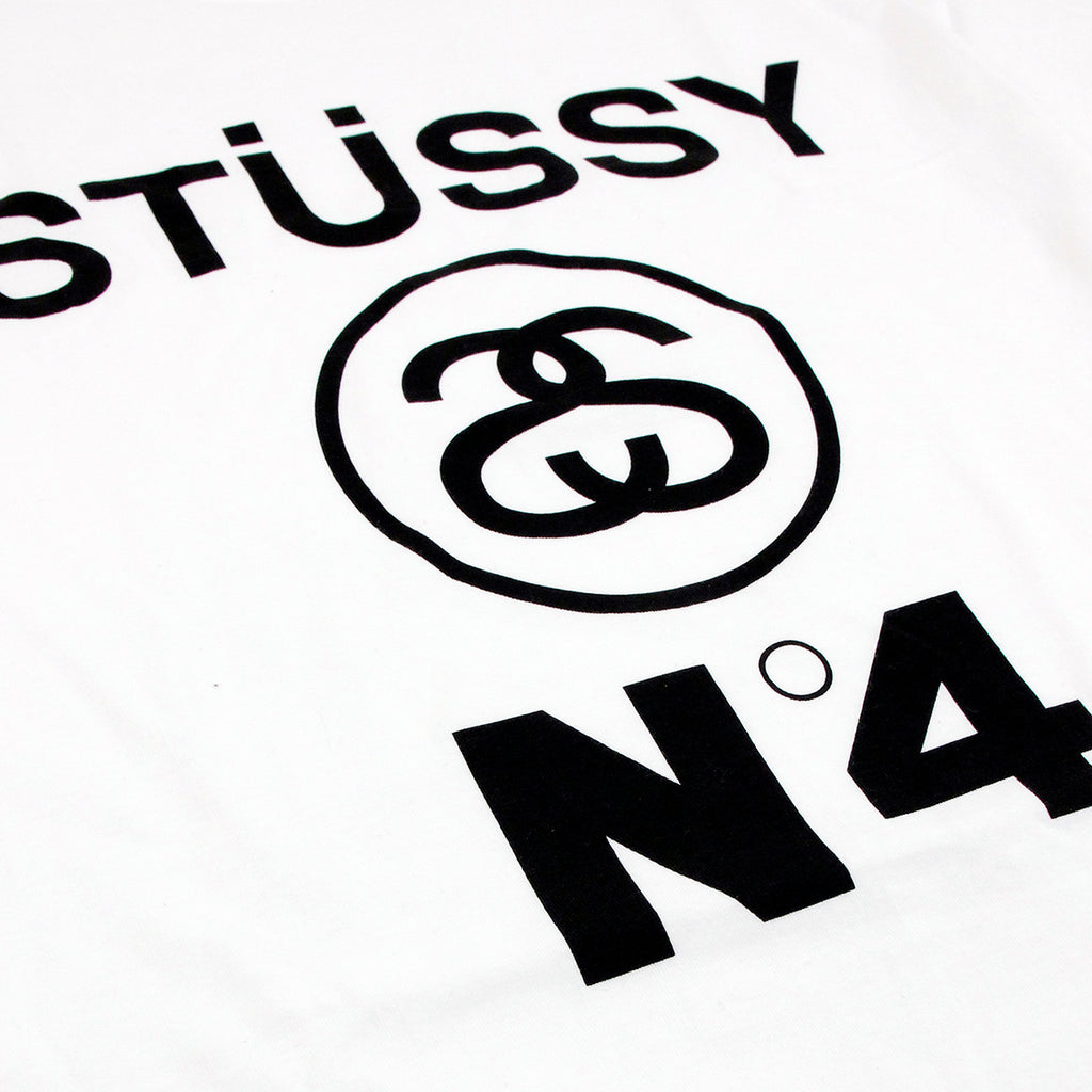 Stussy No4 T Shirt in White - Print
