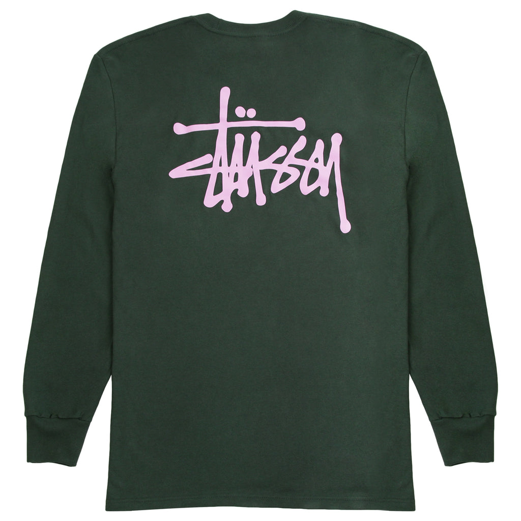 Stussy Basic Stussy L/S T Shirt in Dark Forest