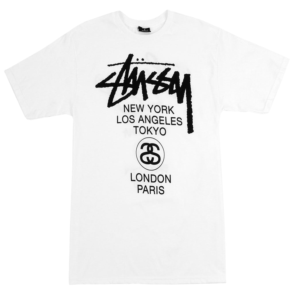 Stussy World Tour T Shirt in White