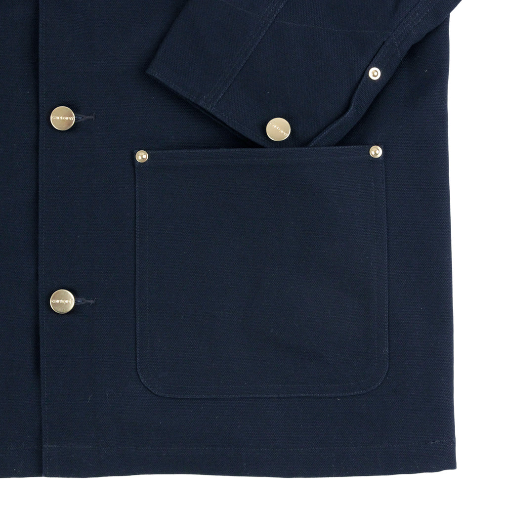 Carhartt Michigan Chore Coat in Navy Rigid - Cuff