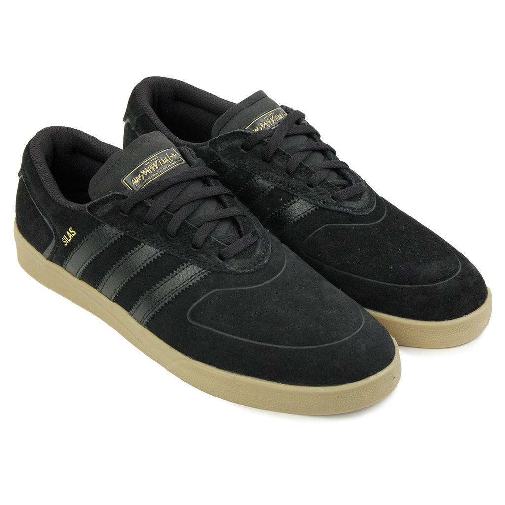 Adidas Skateboarding Silas Vulc ADV Shoes in Core Black/Core Black/Gold MT - Pair