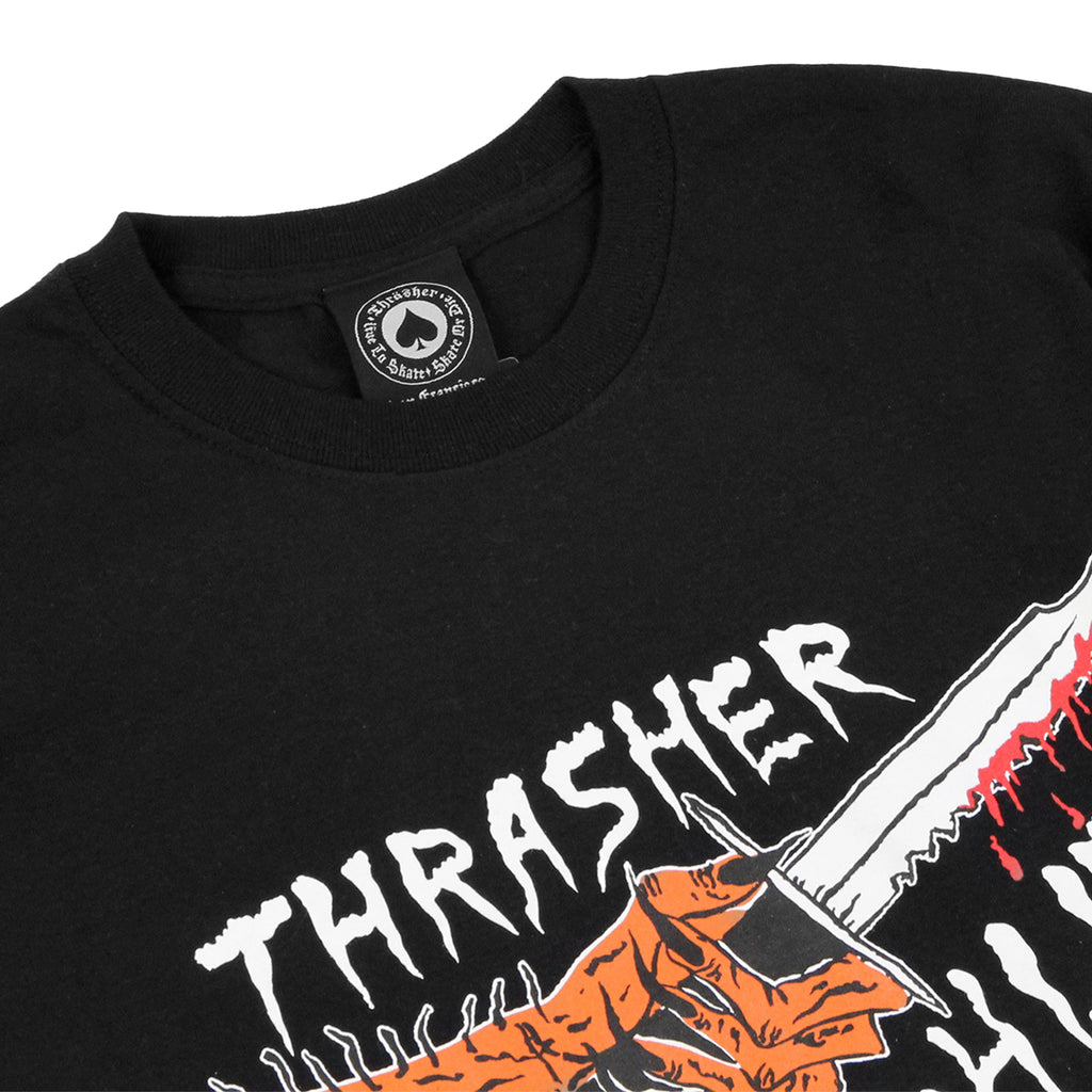 Thrasher Scarred 4 Life T Shirt in Black - Detail