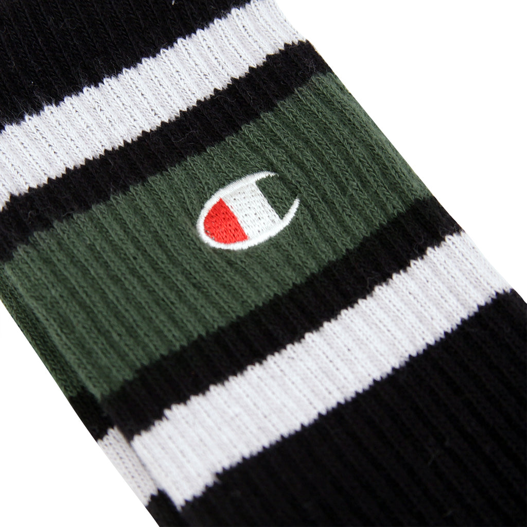 Champion Reverse Weave Athletic Socks in Black / Green / White - Embroidery