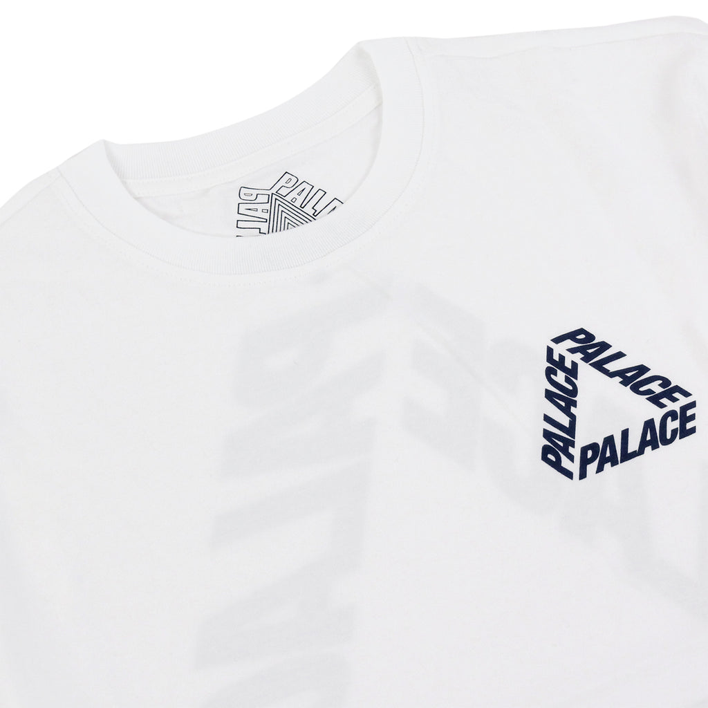 Palace P 3 L/S T Shirt in White / Navy - Detail