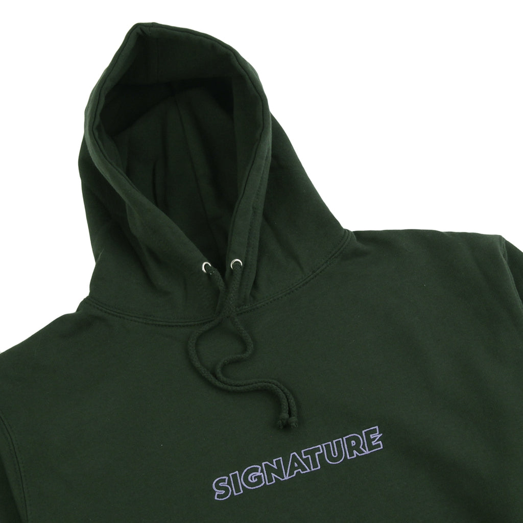 Signature Clothing Outline Logo Embroidered Hoodie in Forest Green / Lilac - Detail