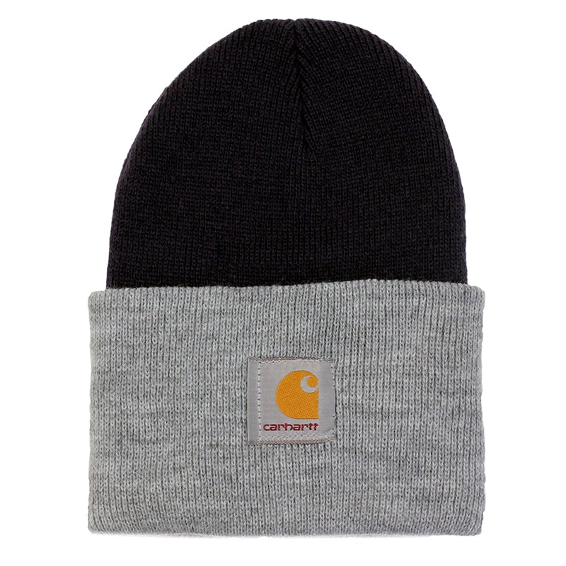Carhartt WIP Bi-Colored Acrylic Watch Hat in Jet / Heather Grey