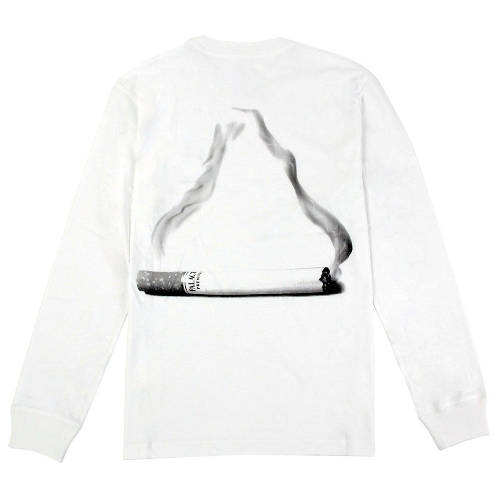 Palace Tri Smoke L/S T Shirt in White - Back