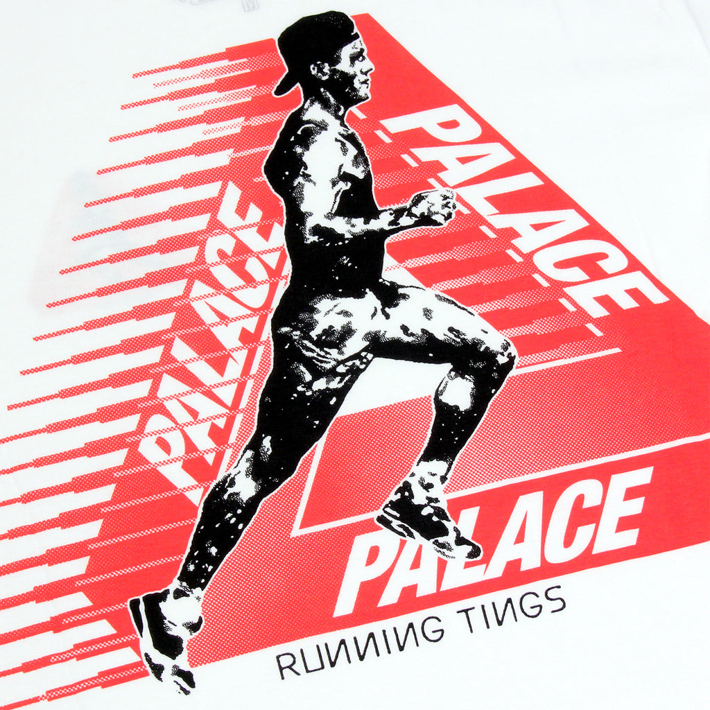 Palace Running Tings T Shirt in White - Print