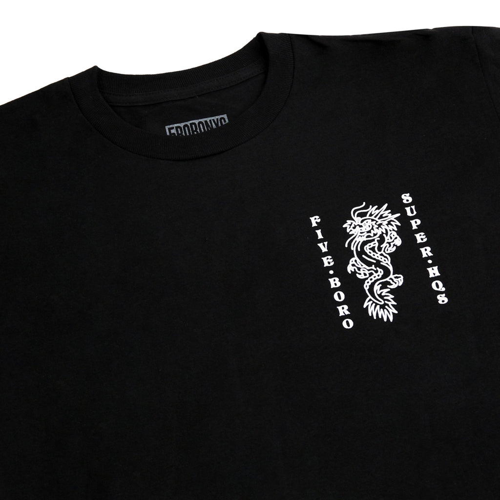 5Boro Dragon T Shirt in Black - Detail