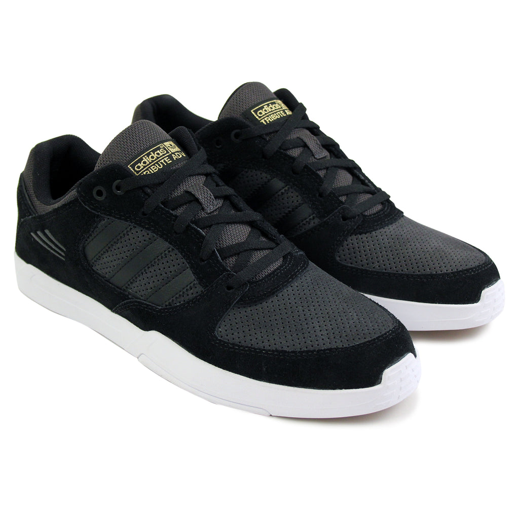 Adidas Skateboarding Tribute ADV Shoes in Core Black/Solid Grey/White - Pair