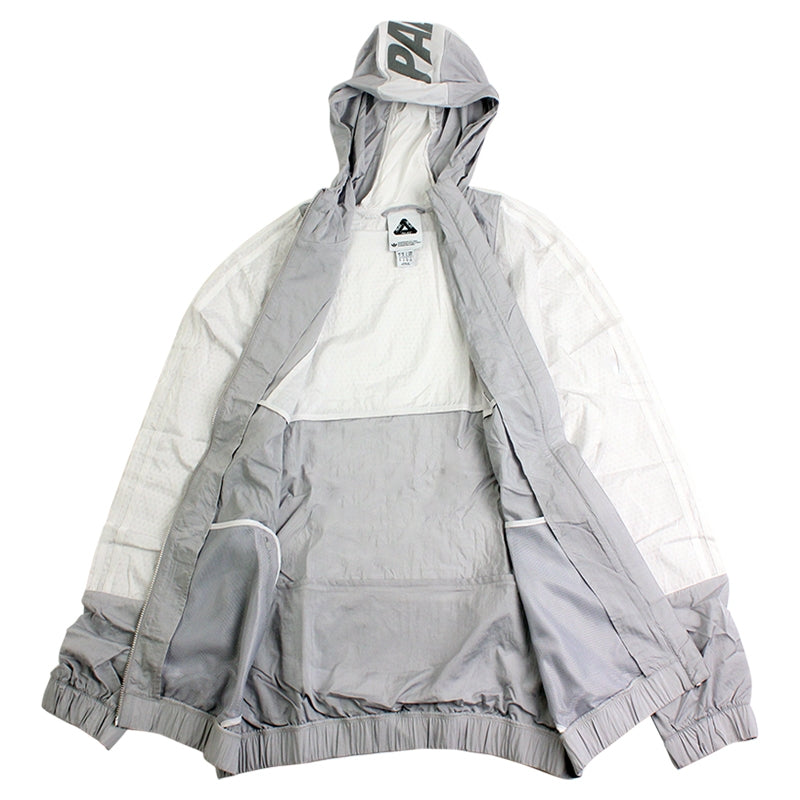 Palace x Adidas Packable Windbreaker 1 in Light Grey / Solid Grey / White - Open